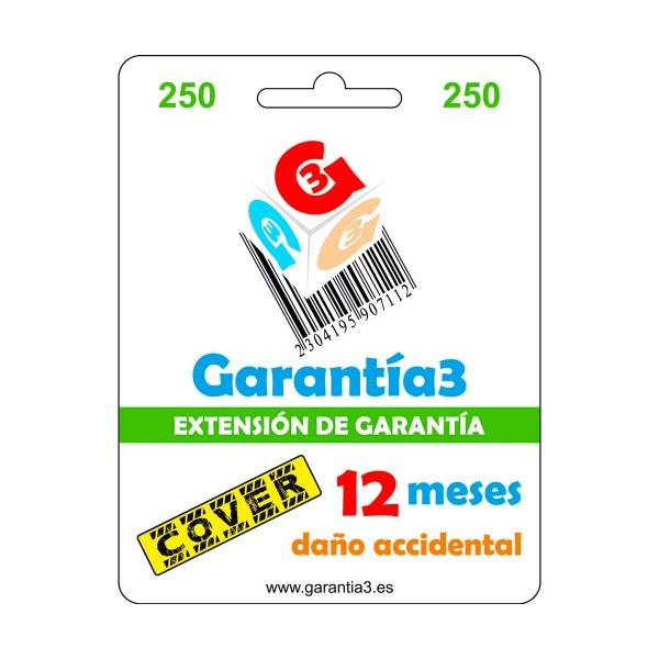 Garantía 3 garantía por rotura y daño accidental de 1 año con cobertura de hasta 250€