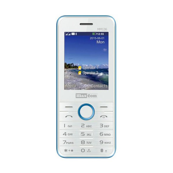 Maxcom mm136 blanco/azul móvil dual sim 2.4'' bluetooth