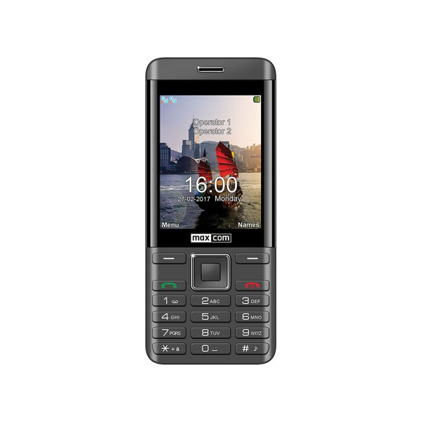 Maxcom mm236 negro plata móvil dual sim 2g senior 2.8'' cámara de 2mp bluetooth microsd radio fm