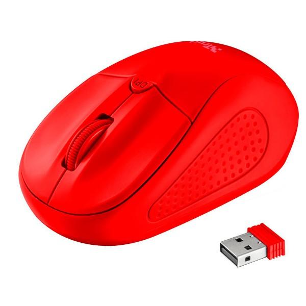 Trust primo wireless mouse neon rojo ratón óptico inalámbrico con botón dpi diseño ambidiestro