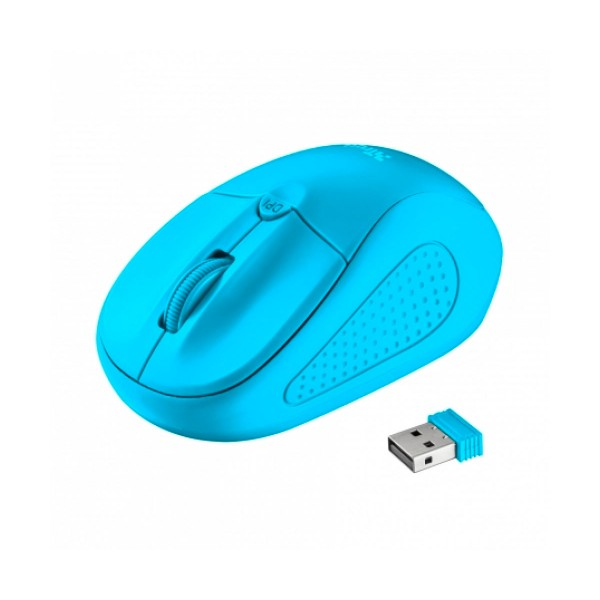 Trust primo wireless mouse neon azul ratón óptico inalámbrico con botón dpi diseño ambidiestro