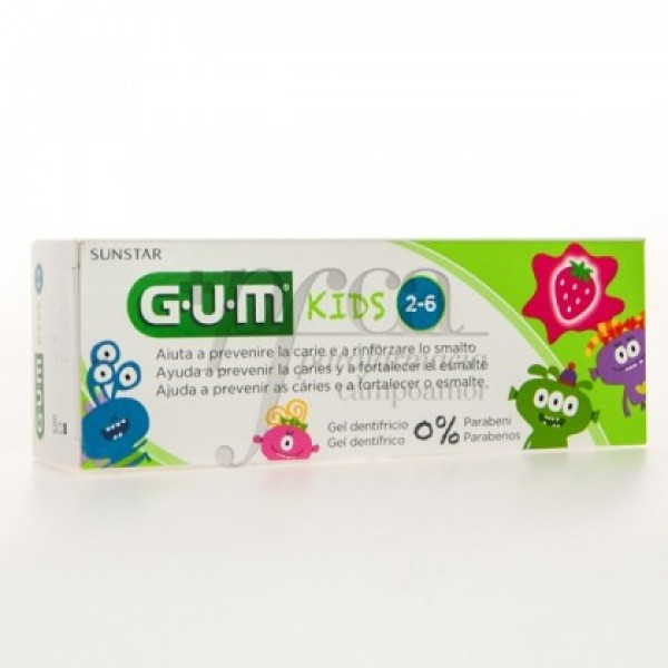 3000 GUM KIDS GEL DENTÍFRICO FRESA 50ml 2-6 AÑO