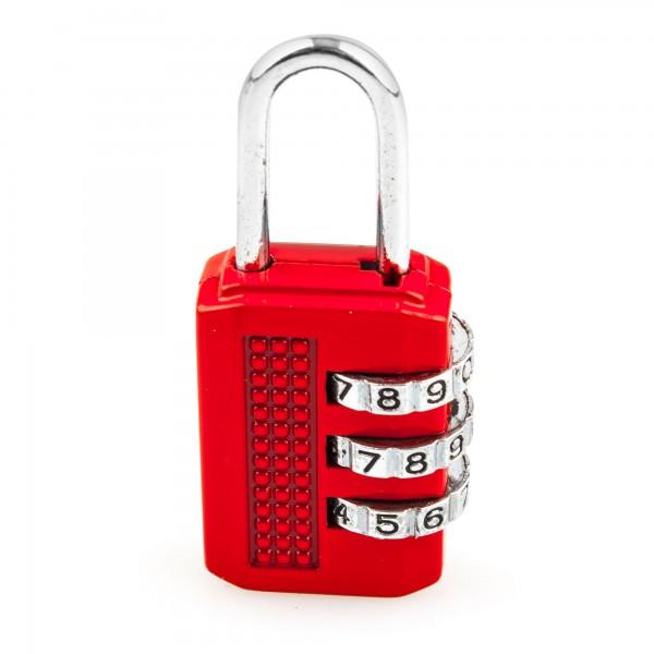 Candado combin. handlock 3 num. 25 rojo