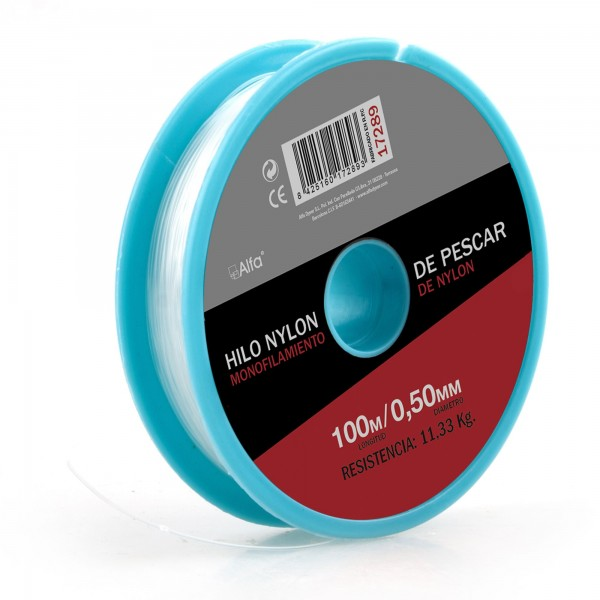 Hilo nylon blanco 0,3 mm. 100 m.