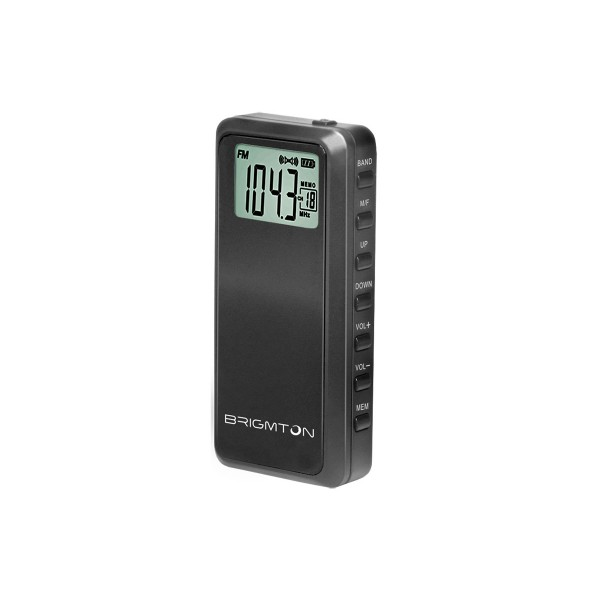 Brigmton bt123 negro radio am/fm portátil 60 presintonias temporizador de apagado