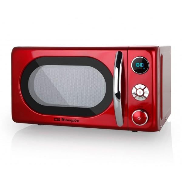 Orbegozo mig2042 microondas de 700w digital con grill de 20 litros de capacidad y diseño en rojo y plata