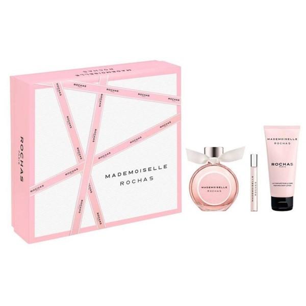 Rochas mademoiselle eau de parfum 90ml vaporizador + perfumed body lotion 100ml + miniatura 7 5ml