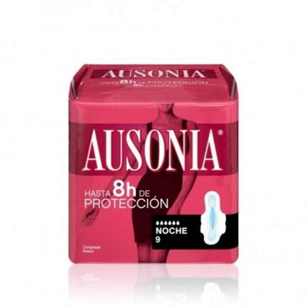 AUSONIA Compresas Air Dry noche alas  9 u