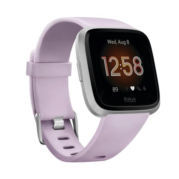 Fitbit versa lite lila plata smartwatch reloj deportivo con pantalla táctil y correa lila