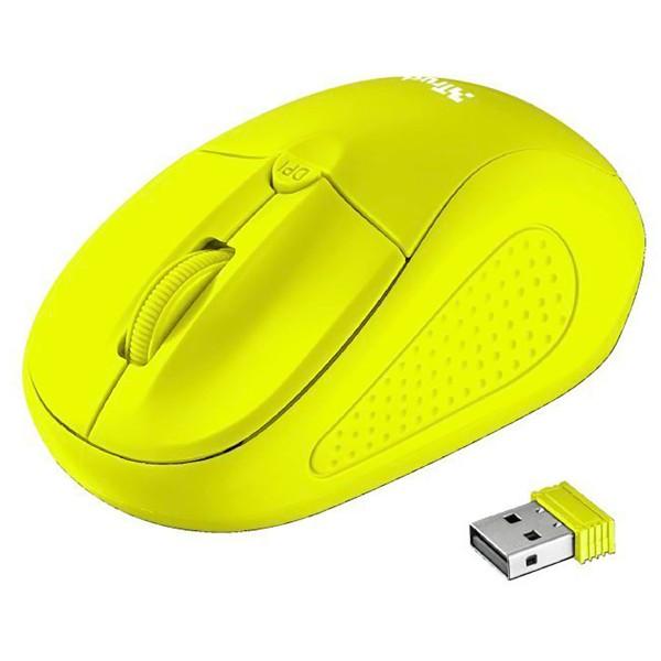 Trust primo wireless mouse neon amarillo ratón óptico inalámbrico con botón dpi diseño ambidiestro