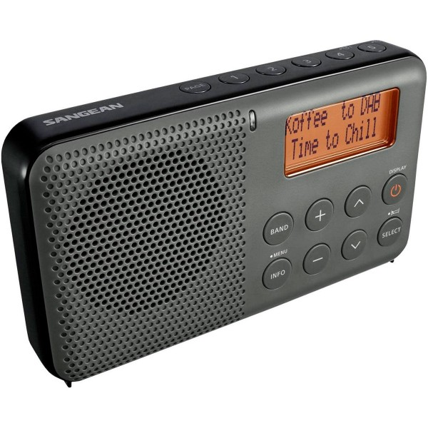 Sangean dpr-64 negro radio digital de bolsillo fm con rds y dab+ pantalla lcd alarma batería recargable