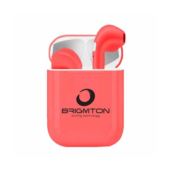 Brigmton bml-18r rojo auriculares inalámbricos manos libres bluetooth con micrófono y estuche batería