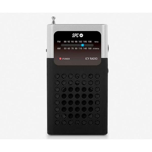 Spc 4573n negro radio icy fm bolsillo 0.3w a pilas con clip de sujeción y antena telescópica