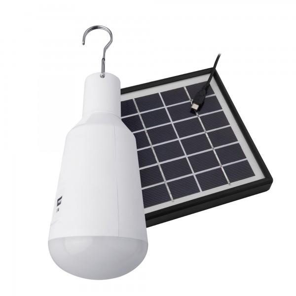 Kit bombilla usb recarg. placa solar 7w
