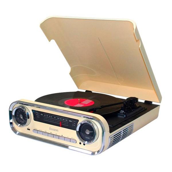 Lauson 01tt15 crema tocadiscos vintage 3 velocidades bluetooth usb grabación mp3 fm