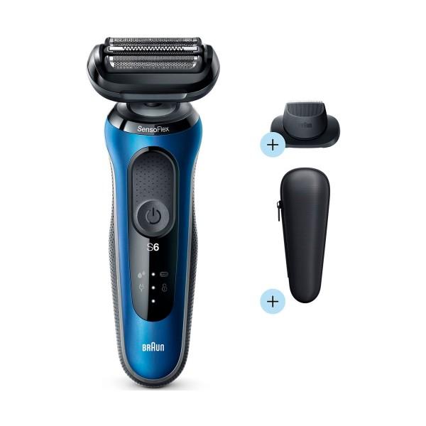 Braun series 6 60-n1200s afeitadora en seco y en mojado con funda para viaje y accesorio de recorte