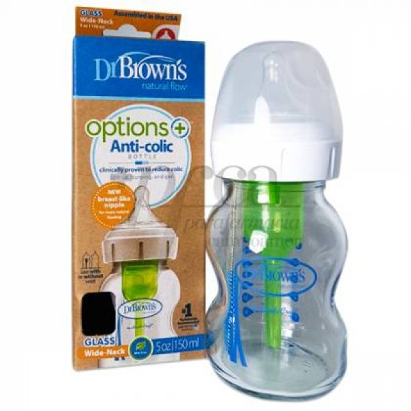 DR BROWNS OPTIONS+ BIBERON DE VIDRIO BOCA ANCHA 150 ML
