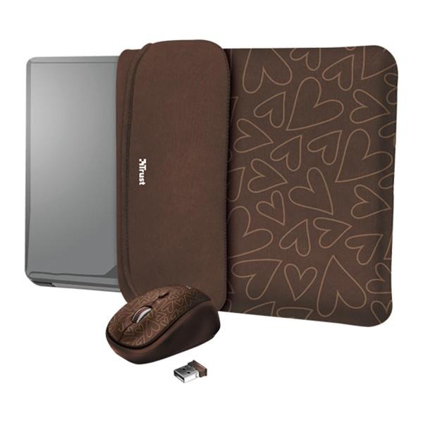 Trust yvo funda reversible marrón para portátil 15.6'' + ratón inalámbrico marrón