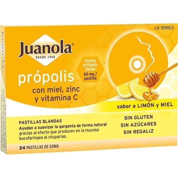 JUANOLA PROPOLIS MIEL ZINC 24 PASTILLAS BLANDAS