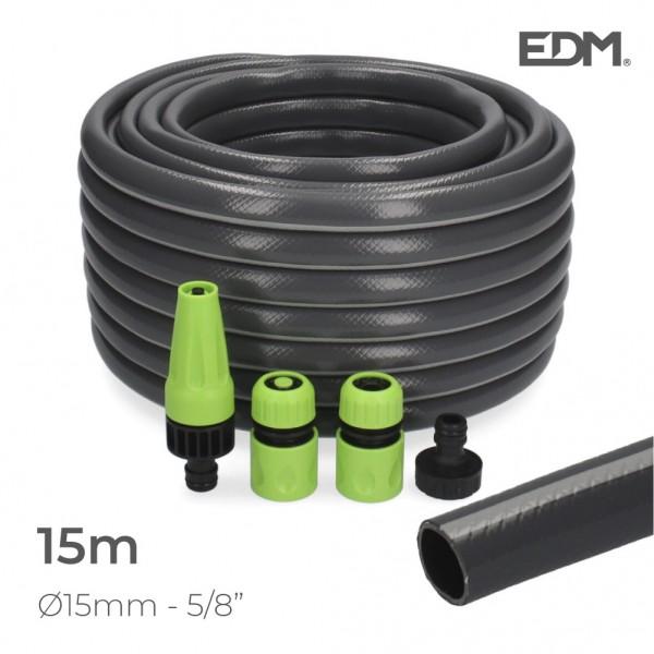 "Kit manguera jardin pvc con acces. ecolight ø inter.15mm, ø exter.  20mm (5/8"")  rollo 15m edm"