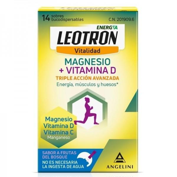 LEOTRON MAGNESIO + VITAMINA D 14 SOBRES BUCODISPERSABLES 2G SABOR FRUTAS DEL BOSQUE
